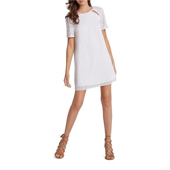 BCBGeneration Dresses & Skirts - White Chiffon Dress with Lace Sleeves - BCBG
